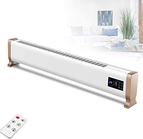 Calentador eléctrico silencioso inteligente, calentador de ventilador de pie con faldón con control remoto, temporización de 24 horas, pantalla LCD fácil de usar, termostato y corte de seguridad