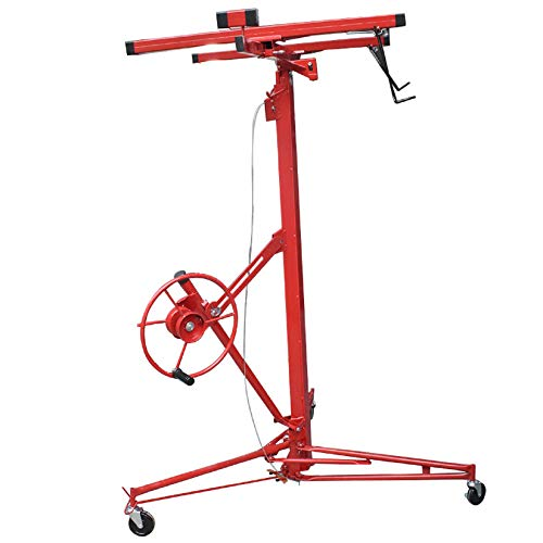 findmall 16FT Drywall Lift Rolling Panel Hoist Jack Lifter Construction Caster Wheels Lockable Tool Red