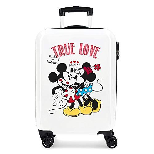 Disney Mickey True Love Maleta de cabina Blanco 38x55x20 cms Rígida ABS Cierre combinación 34L 2,6Kgs 4 Ruedas dobles Equipaje de Mano