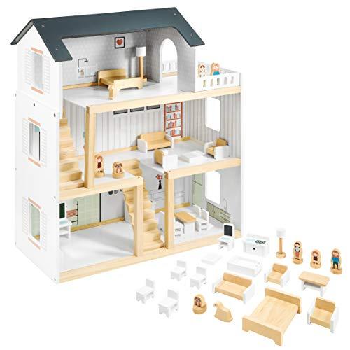 Mamabrum Casa de Muñecas de Madera 70x30x60cm para Niños con Terraza Grande 4 Figuras, 3 Pisos, 2 Dormitorios, Cocina, Sala de Estar y 19 Habitaciones Móviles, Juguete para Niños de 3 Años