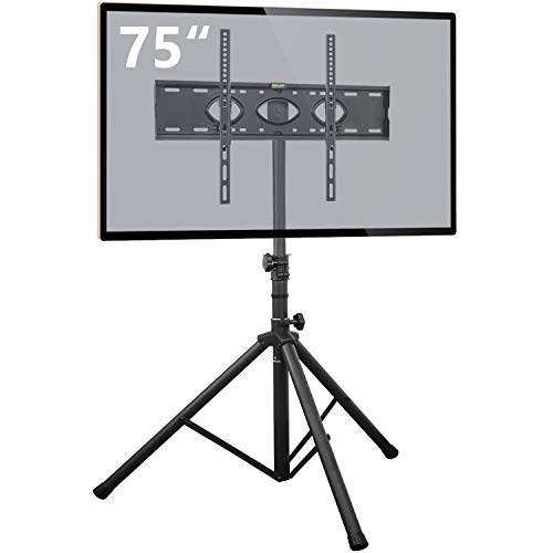 Tripod TV Stand for 37-75 Inch Flat Screens/Curved TVs with Swivel&Tilt Mount, Universal Display Floor TV Stand, Height Adjustable, Portable and Foldable Outdoor TV Stand, Max VESA 600x400mm
