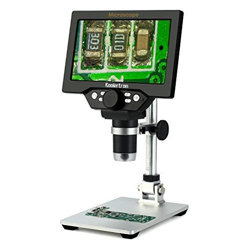 7 Zoll LCD Digital USB Mikroskop mit 16G TF Karte, Koolertron 12MP 1-1200X Vergrößerung Handkamera Videorecorder, 8 LED Licht, Wiederaufladbare Batterie