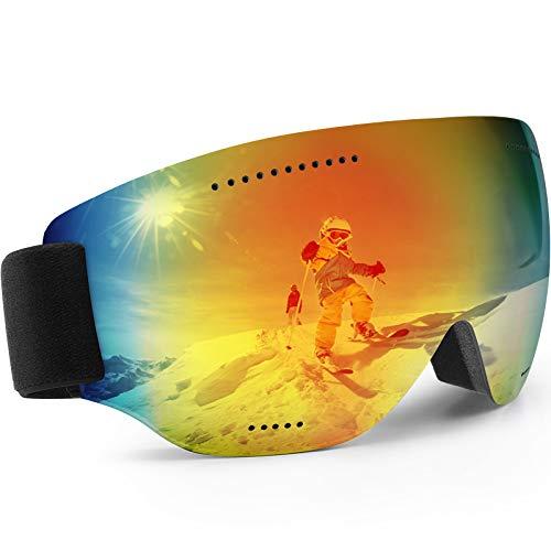 Teamkio Skibrille Ski Goggles Snowboardbrille für Damen und Herren, Anti-Fog UV-Schutz Blendschutz Skibrillen Sphärisch Goggle Brille für Unisex Männer Kinder Erwachsene Jugendliche (Rot)