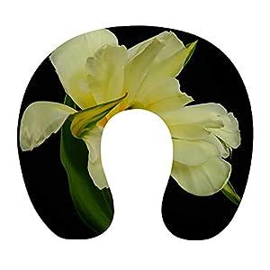 Almohada Cervical Viaje, U Shape Cojin Cuello Viscoelastica, Almohada Antironquidos, Almohada Ortopédic, para el Aeroplano, el hogar, el Oficina (Flor Amarilla)
