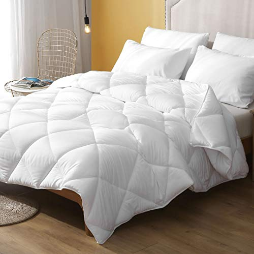 DWR Full/Queen Alternative Down Comforter - Super Soft Fit 3D-air Cloud Fluffy Eucalyptus Microfiber Comforter Set with Shams, Medium Weight All Season Duvet, White