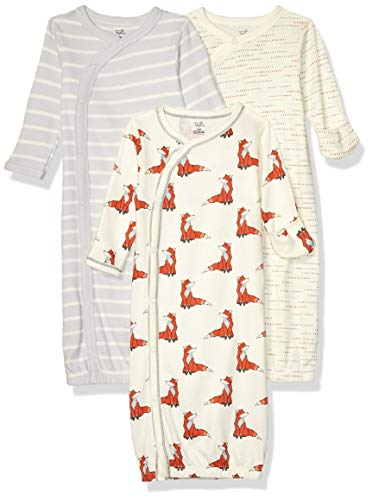 Touched by Nature Baby Organic Cotton Kimono Gowns, Boho Fox, 0-6 Months