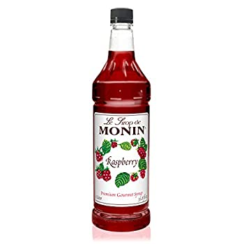 Monin - Raspberry Syrup Sweet and Tart Great for Cocktails and Lemonades Gluten-Free Non-GMO  1 Liter