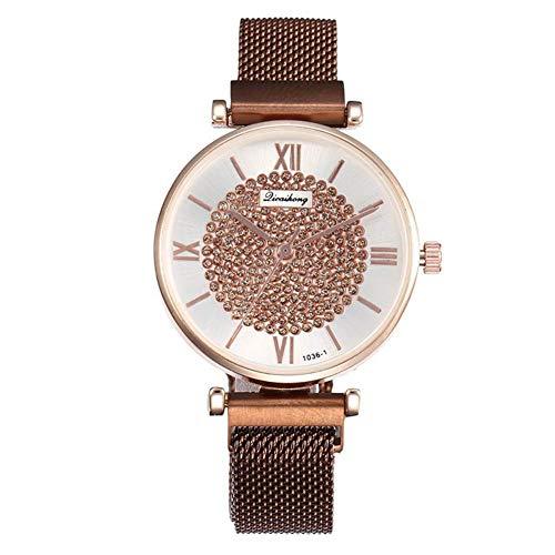 Weimay - Reloj de Pulsera para Mujer con Cristales y Relojes, de Piel, Acero Inoxidable, analógico, de Cuarzo