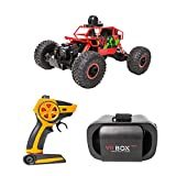 JIU SI 4WD 2.4GHz 1/18 Scale RC Car Rock Crawler Coche con cámara Wi-Fi HD (720p VR First Perspective Operation) (Color : Rojo)