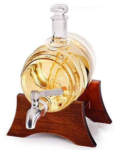 SYZHIWUJIA Home Scotch Whisky Decanter, 1000ml Decantatore di Vino Bianco con 2 Bicchiere di Vino e Rubinetto in Acciaio Inox per Vetro Lavorato Brandy Tequila Bourbon Scotch Rum Set Decanter