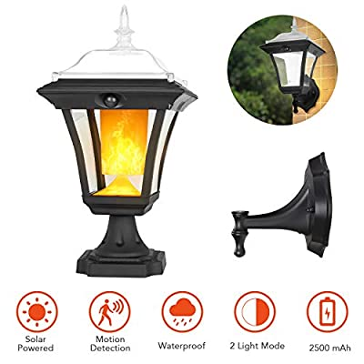 2-in-1 Outdoor LED Solar Post Light, Motion Detection, Decorative Flickering Flame Wall Lantern for Lawn Garden, Dusk to Dawn Auto ON/Off, Waterproof, Landscape Deck Light for Patio, 1 Pack