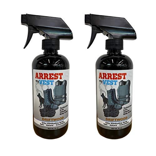 Arrest My Vest Military and Police Grade Odor Eliminating Spray for Body Armor Odor, Tactical Gear. Safe on K9's. Safe on All Ballistic Vests and Fabrics - New Driftwood Fragrance - 2 16 oz Bottles