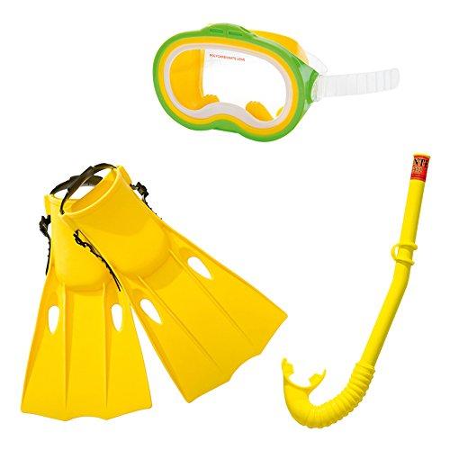 Intex Unisex-Schwimmbrille Schnorchel Flipper Set, Farbe Sortiert (Grün/Gelb)