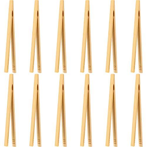 12 Piezas Pinzas de Bambú Pinzas de Madera Tostadas Pinzas de Cocina de Bambú para Cocina, Pan, Té de Frutas y Pepinillos, 7 Pulgadas