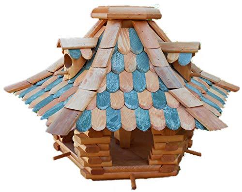 Großes Vogelhaus Futterhaus Vogelhäuschen --Wetterschutz-- K22K Dunkelgrün