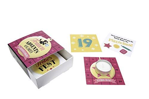 GILDE - 46816 - Adventskalender für Frauen, 24 Karten und EIN Teelicht, Pappe, 10cm x 4cm x 10cm