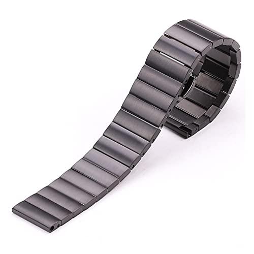 JUSU Store Pulsera de Banda de Reloj de Acero Inoxidable 16 mm 18 mm 20 mm 22mm de Plata de Plata Negra de la Correa de la Correa de la Correa de la Correa para el Engranaje de Huawei