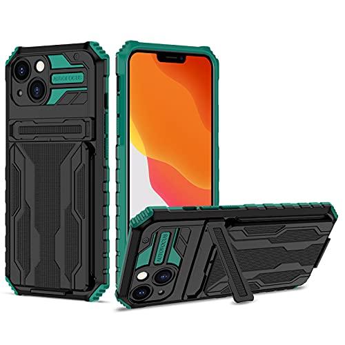SCRENDY Funda para Xiaomi Redmi Note 10 5G, Carcasa Case con Función de Soporte, Funda Protectora de Military Grade con Soporte Ranuras para Tarjetas, Verde Oscuro