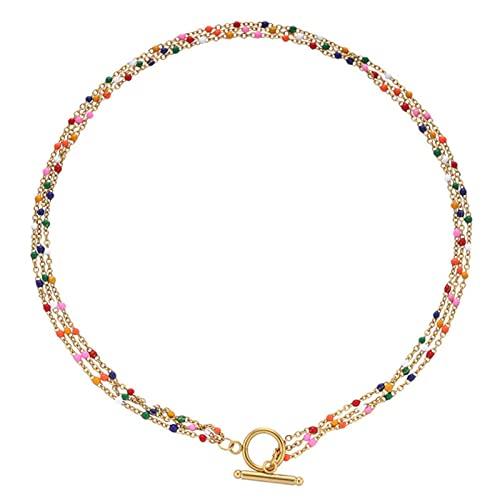 SONGK Collar de Cadena de Cuentas de Esmalte de Acero Inoxidable Multicapa Bohemio para Mujer, Gargantilla de Palanca, joyería, Regalo del Día de San Valentín