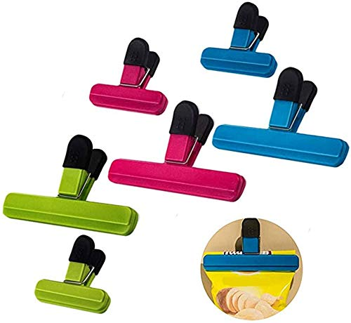 TX Bag-Clips 6 Stück Plastik Verschlussklammern für Beutel,Farbe Tüten Clips/Verschluss Klammern/Klipps/Beutelclips für Geöffnete Snackbeutel,Kaffee, Schützen vor Aromaverlust,Frischhalten
