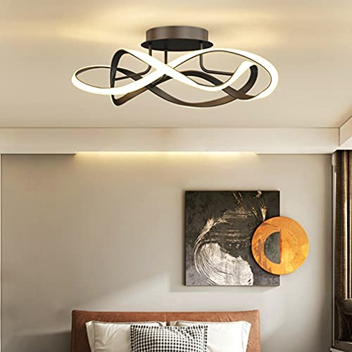 Plafoniera LED Dimmerabile Camera da letto Lampada Moderno Forma di Fiore Design Lampadario Con Telecomando Paralume in Acrilico Per Bambini Soggiorno Tavolo da Pranzo Decor Lampada da Soffitto (Nero)