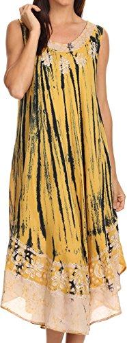 Sakkas 15009 - Alexis gesticktes langes Sleeveless BlumenKaftan Kleid/Abdeckung Oben - Senf Gelb - OS