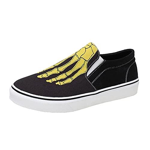 URIBAKY - Funda de lona estampada a la moda para mujer, zapatos simples y cómodos, zapatos de deporte, zapatillas de deporte, transpirables, atléticas cortas, zapatillas de running, amarillo, 38 EU
