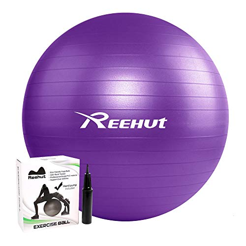 REEHUT Anti-Burst Gymnastikball + Pumpe mit Belastbarkeit bis zu 500kg Core-Training Fitness Yoga Pilates Ball - Violett 65CM