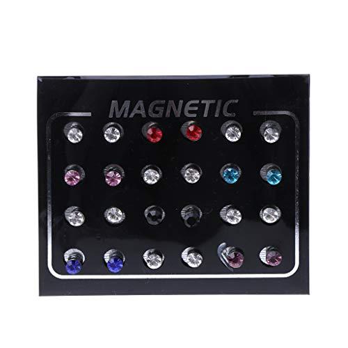 smallJUN 12 Paare Kristallrhinestone-magnetischer Klipp-Nicht durchdringende Ohrringe Art- und Weiseschmucksache-Magnetbolzen Farbiger Diamant