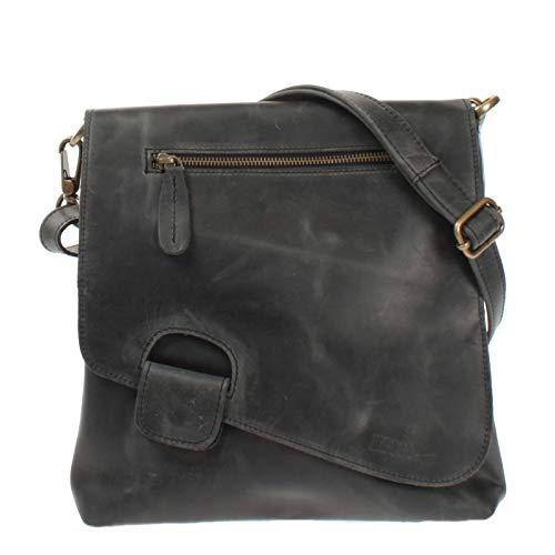 LECONI Umhängetasche Damen-Tasche Crossbag Rinds-Leder Natur Schultertasche Vintage-Look Ledertasche Frauen + Herren Handtasche aus Echt-Leder 29x29x6cm grau LE3027-wax