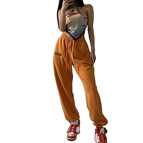 Kaenwang Pantalones deportivos elásticos de cintura alta para mujer con cordón, letras casuales impresas pantalones con bolsillo, naranja, S