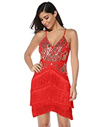 Red Sequin Tassel Mini Bodycon Party Dress