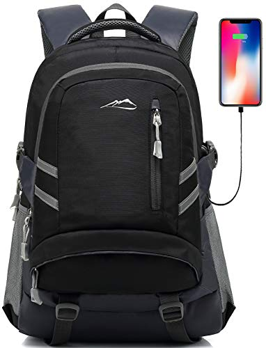 Backpack Bookbag for School Student College Travel Business with USB Charging Port 15.6 inch Laptop compartment Anti theft Night Light Reflective Luggage Straps (Black)