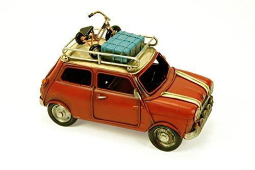 CAPRILO Figura Decorativa de Metal Coche Mini Antiguo Rojo. Vehículos. Adornos y Esculturas. Coleccionismo. 32 x 15 x 15 cm.
