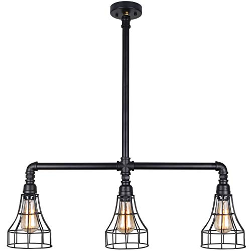 UNITARY BRAND Black Vintage Barn Metal Cage Shade Hanging Ceiling Pendant Light Max. 120W With 3 Lights Painted Finish
