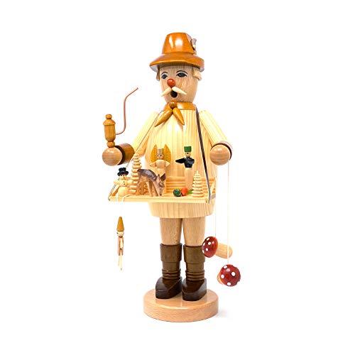 Drechslerei Friedbert Uhlig, Räuchermännchen Nr. 024/n, Spielwarenhändler, Natur, 35 cm hoch, aus regionalem Holz gedrechselt, echte Handarbeit aus dem Erzgebirge, Weihnachten, Holzkunst, Echtholz