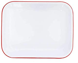 Enamelware Open Roaster, 13 x 10 inches, Vintage White/Red