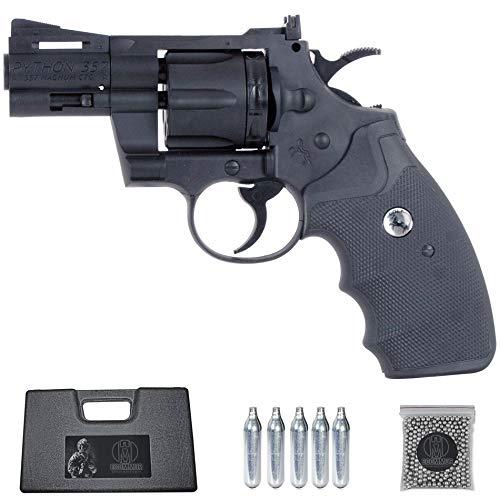 Ecommur. Colt Python 2,5  | Revólver de Aire comprimido semiautomático (munición Dual: bb s + perdigones) Calibre 4.5mm + maletín + balines y CO2