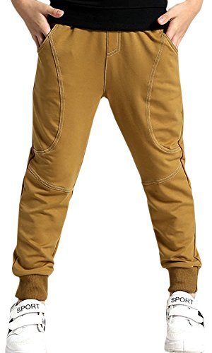 Kids Cotton Active Sports Basic Outdoor Jogger Sweat Pants with Pockets for Little Boys & Big Boys, Brown, Age 9T-10T (9-10 Years) = Tag 150