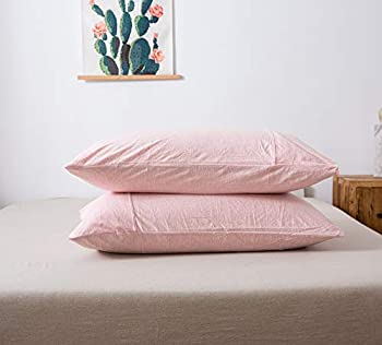 """Household 100% Jersey Cotton Queen Size Pillowcase 20""""x30""""-Light Weight Comfortable Extremely Durable Set of 2  Heathered Pink Standard Pillowcases"""