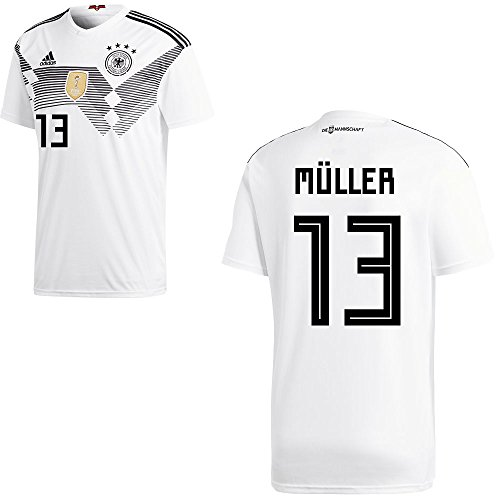 adidas DFB Deutschland Fußball Trikot Home Heimtrikot WM 2018 Herren Kinder mit Spieler Name Farbe Müller, Größe 152