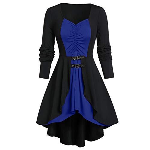 FRAUIT Damen Gothic Bluse Übergröße Schatz Neck High Low T-Shirt Kleid Hoop Gürtel Lange Tunika Tshirt Kleid Bluse Kurzarm MiniKleid Festlich Party Kleidung