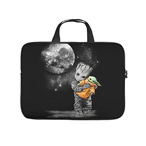 Baby Groot Hugging Yoda - Funda para ordenador portátil y tableta, impermeable, portátil, con cremallera, bolsa protectora para computadora de negocios y viajes, multifuncional, para hombres y mujeres