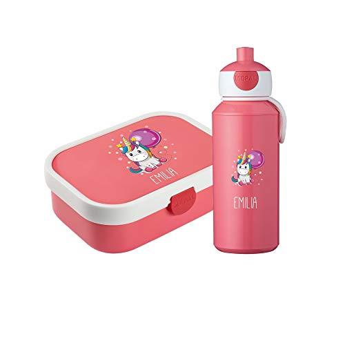 4you Design Set Brotdose & Trinkflasche Einhorn Mepal Campus + Bento Box & Gabel - Schule - Kindergarten - Geschenk 6 Farben (Pink)