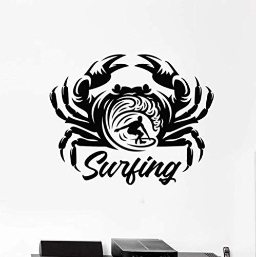 Extraíble vinilo de alta calidad etiqueta de la pared calcomanía papel tapiz surfista cangrejo abstracto tabla de surf surf playa arte ventana 42X67 cm