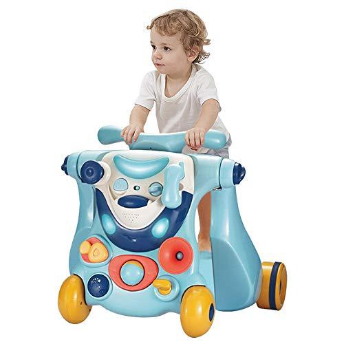 OUNUO 3 in 1 Lauflernwagen Lauflernhilfe, Gehhilfe mit Spielbrett, Rutschauto mit Lichtern und Musik, mit multifunktionalem Aktivitätszentrum, Lernspiele für Babys von 6-36 Monaten (Blau)