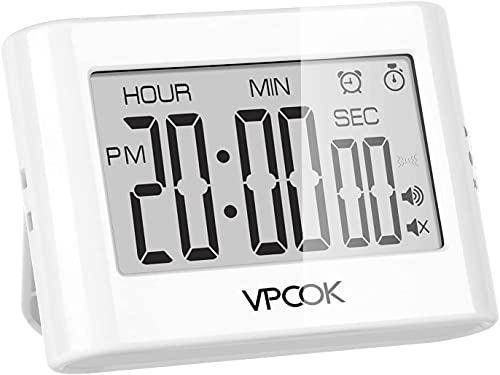 VPCOK Temporizador de Cocina Digital, Reloj Temporizador, Count up/Down Gran Pantalla LCD Electrónica Temporizador de Memoria, Alarma de 3 Niveles de Volumen, Respaldo Magnético, Soporte Plegable
