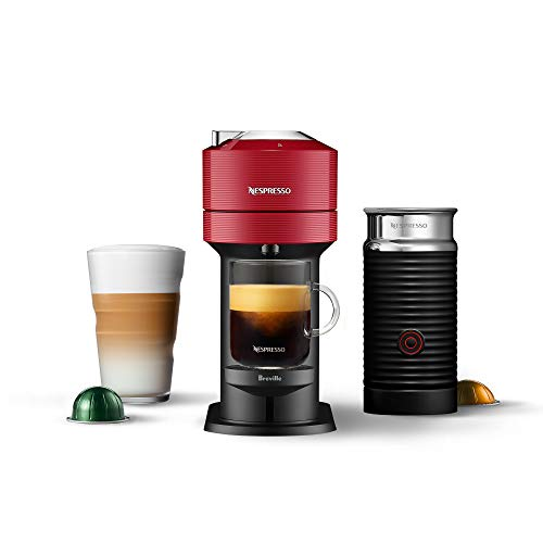 Nespresso Vertuo Next Coffee & Espresso Machine with Aeroccino NEW by Breville, Cherry, Compact, Single Serve Coffee & Espresso Maker, One Touch Brew