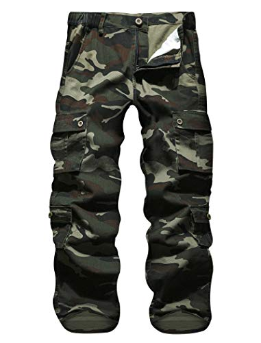 APTRO Herren Cargo Hose Camouflage Hose Arbeitshose Outdoor Baumwolle Hose mit 8 Tachen LT01 Grün 36