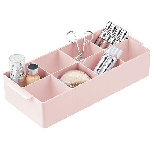 mDesign Organizer Cosmetici – Scatola Porta Trucchi con 8 Scomparti per i medicinali – Pratico Contenitore per Prodotti Cosmetici Come smalti e Rossetti da appoggiare su lavabo e cassettiera – Rosa